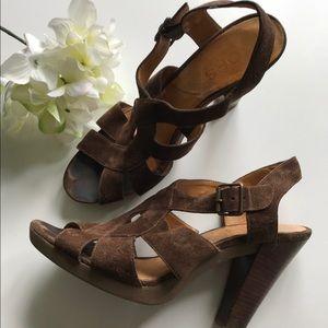 Michael Kors brown suede strappy heels